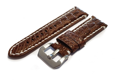 Gisoni watchstrap crocodile leather 24mm brown XL