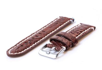 Gisoni watchstrap crocodile leather 24mm brown XL