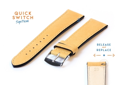Watchstrap 20mm leather honey yellow